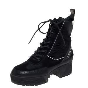 حذاء بوت كاحل دزرت لوي فيتون لاوريات نعل سميك جلد وشبك وسويدي أسود مقاس 39