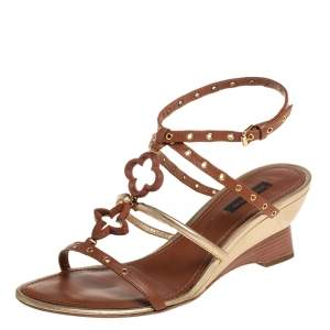 Louis Vuitton Brown/Gold Leather Eyelet T-Strap Wedge Sandals Size 38.5