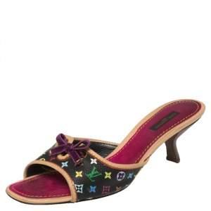 Louis Vuitton Multicolor Canvas Bow Slides Sandals Size 38.5