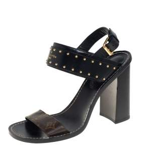 Louis Vuitton Black/Brown Studded Leather And Monogram Canvas Nomad Slingback Sandals Size 41