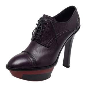 Louis Vuitton Dark Purple/Black Leather Derby Platform Ankle Bootie Size 40.5