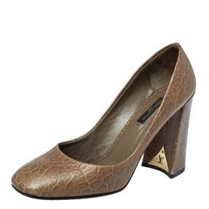 Louis Vuitton Brown Croc Embossed Leather Block Heel Pumps Size 39.5