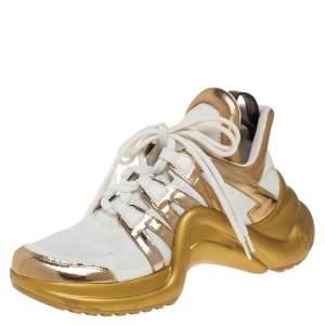 حذاء رياضي لوي فيتون أرش لايت  LV شبك وجلد أبيض / ذهبي مقاس 38.5