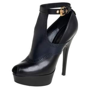 Louis Vuitton Black/Blue Leather Ankle Strap Bootie Size 38.5