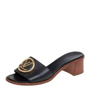 Louis Vuitton Black Leather Slide Sandals Size 40