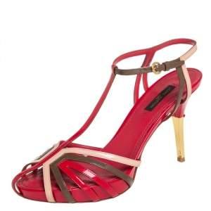 Louis Vuitton Multicolor Patent Leather Platform T Strap Sandals Size 37
