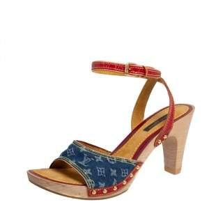 Louis Vuitton Multicolor Leather and Monogram Denim Ankle Strap Clog Sandals Size 38