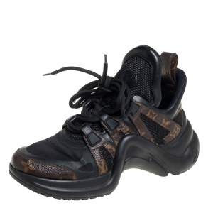 Louis Vuitton Black/Brown Neoprene And Monogram Canvas Archlight Low Top Sneakers Size 37
