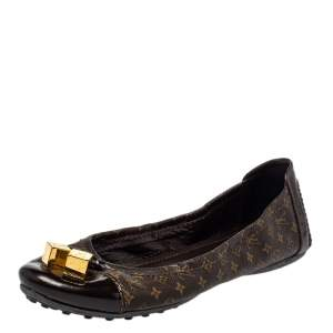 Louis Vuitton Brown Monogram Coated Canvas And Patent Leather Ballet Flats Size 38.5