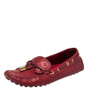 Louis Vuitton Red Monogram Leather Gloria  Slip On Loafers Size 38