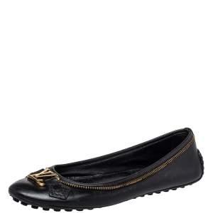 Louis Vuitton Black Leather Oxford Ballet Flats Size 36