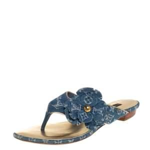 Louis Vuitton Blue Monogram Denim Freesia Flower Thong Sandals Size 35