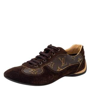 Louis Vuitton Brown Suede And Monogram Coated Canvas Low Top Sneakers Size 37.5