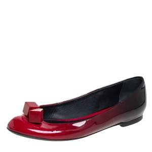 حذاء باليرينا فلات لوي فيتون غوسيب جلد لامع أحمر اومبري مزخرف مكعب مقاس 38