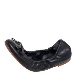 Louis Vuitton Black Perforated Monogram Leather Bow Scrunch Ballet Flats Size 36