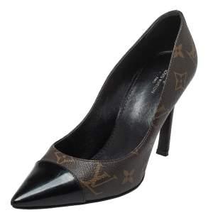 حذاء كعب عالي لوي فيتون فيتش كانفاس مبطن مونوغرامي وجلد بني لامع بمقدمة مدببة مقاس 37