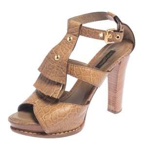 Louis Vuitton Brown Leather Fringe T-Strap Sandals Size 39
