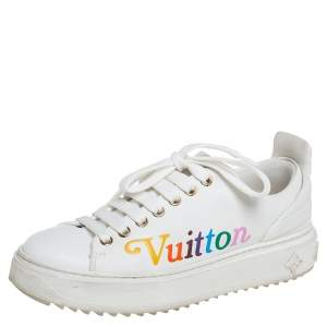 Louis Vuitton White Leather Time Out Sneakers Size 36
