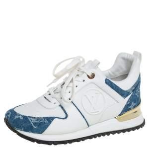 Louis Vuitton White/Denim Canvas And Mesh Run Away Sneakers Size 35.5