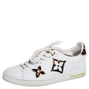 Louis Vuitton White Leather And Brown/Beige Calf Hair Frontrow Low Top Sneakers Size 36