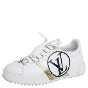 حذاء رياضي لوي فيتون تايم أوت جلد أبيض مزين شعار الماركة مقاس 36