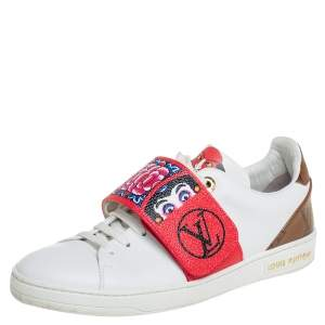 Louis Vuitton White Leather And Brown Monogram Canvas Kyoto Low Top Sneakers Size 36