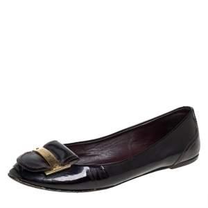 Louis Vuitton Burgundy Patent Leather Ballet Flats Size 38