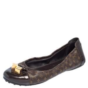 Louis Vuitton Monogram Canvas and Leather Cap Toe Lovely Ballet Flats Size 38