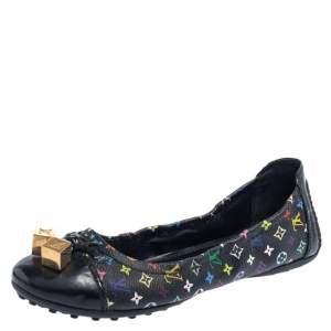 Louis Vuitton Black Multicolor Monogram Canvas And Patent Leather Dice Scrunch Ballet Flats Size 37.5