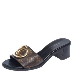 Louis Vuitton Brown Monogram Canvas Lock It Slide Sandals Size 39
