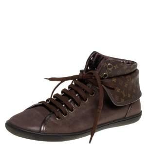Louis Vuitton Brown Monogram Canvas & Leather Brea Sneaker Boots Size 38