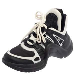 حذاء رياضي لوي فيتون أرشلايت شبك وجلد أسود وأبيض مقاس 39
