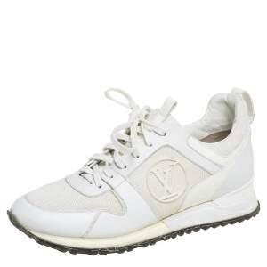حذاء رياضي لوي فيتون راناواي جلد وشبك أبيض عنق منخفض مقاس 38.5