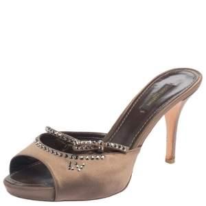 Louis Vuitton Brown Satin Crystal Slide Sandals Size 38