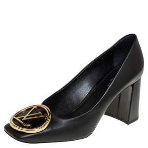 Louis Vuitton Black Leather Madeleine Logo Block Heel Pumps Size 37.5