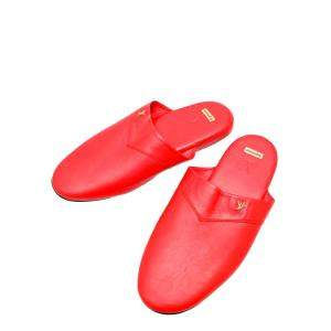 Louis Vuitton x Supreme Red Leather Hugh Flat Slippers Size 26