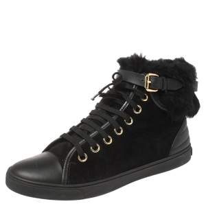 Louis Vuitton Black Suede and Fur High Top Sneakers Size 37