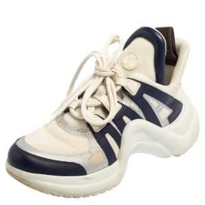 حذاء رياضي لوي فيتون أرشلايت شبك وجلد أبيض/أزرق عنق منخفض مقاس 38