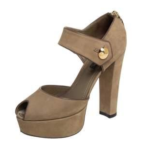 Louis Vuitton Brown Nubuck Leather Peep Toe Platform Ankle Strap Sandals Size 36