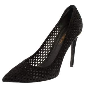 Louis Vuitton Black Perforated Suede Eyeline Pointed Toe Pumps Size 36