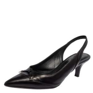 Louis Vuitton Black Leather Slingback Sandals Size 36