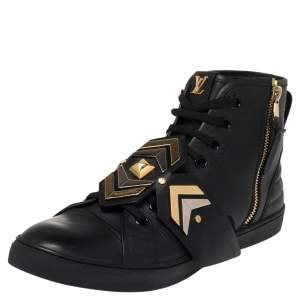 Louis Vuitton Black Leather Punchy Embellished High Top Sneakers Size 41