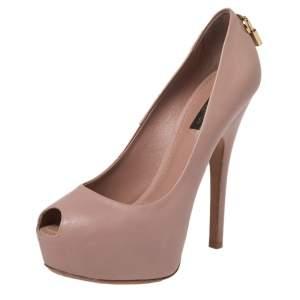 Louis Vuitton Pink Leather Platform Peep Toe Pumps Size 37.5