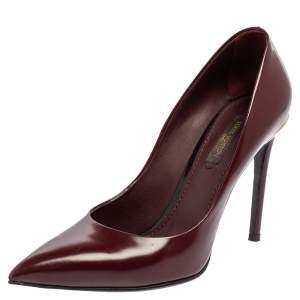 Louis Vuitton Burgundy Leather Eyeline Pumps Size 36.5