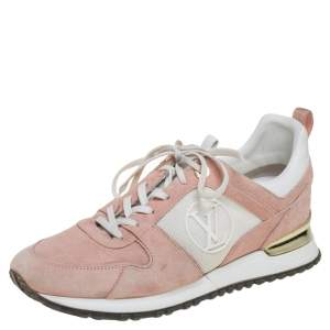 Louis Vuitton Pink/White Mesh And Suede Run Away Low Top Sneakers Size 39.5