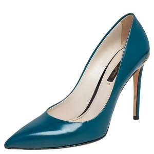 Louis Vuitton Teal Blue Leather Eyeline Pointed Toe Pumps Size 36.5