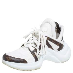 حذاء رياضي لوي فيتون أرشلايت جلد وكانفاس مقوى مونوغرامي أبيض مقاس 40