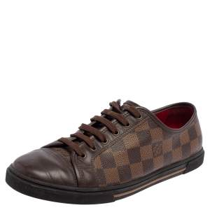 Louis Vuitton Brown Leather And Damier Canvas Low Top Sneakers Size 37.5