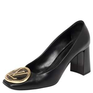 Louis Vuitton Black Leather Madeline Logo Pumps Size 36.5