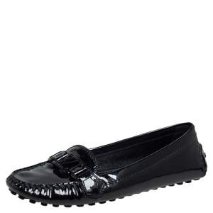 Louis Vuitton Black Patent Leather Loafers Size 37
